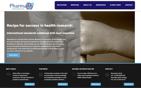 Screenshot of Home Page pharmalys.com - Pharmalys | Clinical research - captured Sept. 20, 2015
