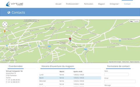 Screenshot of Contact Page virtualcomputer.ch - Virtual Computer SA - captured Oct. 7, 2014