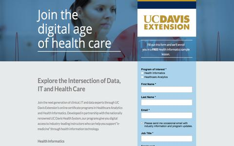 Screenshot of Landing Page ucdavis.edu - Join the digital age of health care - captured May 18, 2018