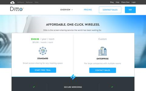 Screenshot of Pricing Page airsquirrels.com - Affordable Screen Sharing | Ditto - captured July 2, 2016