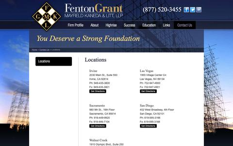 Screenshot of Contact Page Locations Page fentongrant.com - Fenton - Grant - Mayfield - Kaneda & Litt, LLP - Locations - captured Oct. 10, 2018