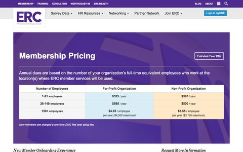 Screenshot of Pricing Page yourerc.com - ERC Membership Pricing - HR Resources in Cleveland & Akron | ERC - captured Aug. 22, 2016