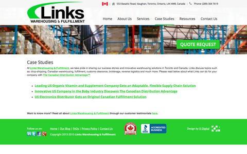 Screenshot of Case Studies Page linkscorp.ca - Case Studies | Links Warehousing & Fulfillment Toronto - captured Jan. 30, 2016