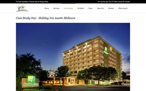 Screenshot of Case Studies Page fchhotels.com - First Call Hospitality, Inc. |   Case Studies - captured Oct. 6, 2014