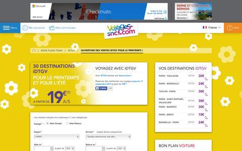 Screenshot of voyages-sncf.com - PETITS PRIX IDTGV POUR L'ÉTÉ - captured April 30, 2016