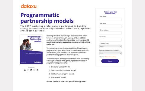 Screenshot of Landing Page dataxu.com - 2017 Guidebook | Programmatic Partnership Models - captured April 26, 2018
