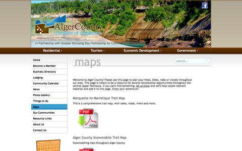 Screenshot of Maps & Directions Page algercounty.org - Munising MI & Alger County Free ATV, Snowmobile, Hiking and Waterfall Maps - captured Oct. 3, 2014