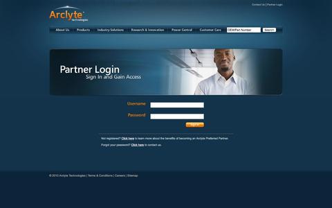 Screenshot of Login Page arclyte.com - Arclyte Technologies: Partner Login - captured Feb. 6, 2016