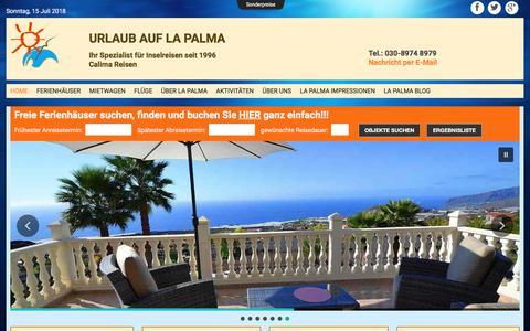 Screenshot of Home Page calima-reisen.de - Urlaub auf La Palma mit Calima Reisen: Ferienhäuser und mehr - captured July 15, 2018