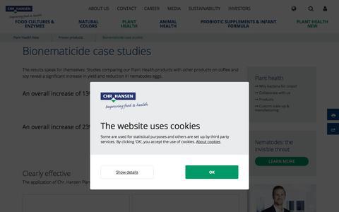 Screenshot of Case Studies Page chr-hansen.com - Bionematicide case studies - captured Feb. 7, 2020