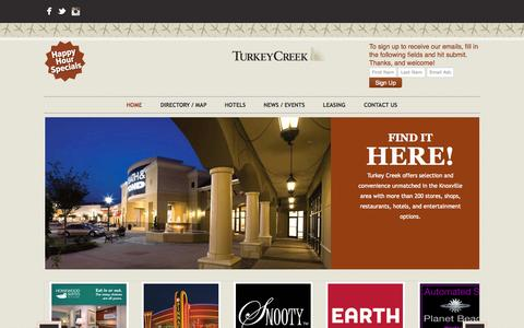 Screenshot of Home Page turkeycreek.com - The Official Turkey Creek Website - captured Oct. 12, 2015