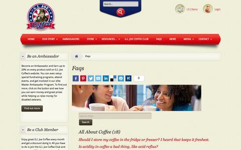 Screenshot of FAQ Page gijoecoffee.com - Faqs » G.I. Joe Coffee Company - captured Oct. 1, 2014
