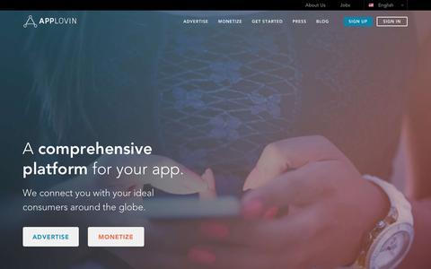 Screenshot of Home Page applovin.com - AppLovin: A comprehensive platform for yourapp - captured May 11, 2018