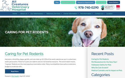Screenshot of Blog creaturehealth.com - Pet Care Blog | All Creatures Veterinary Hospital Salem, MA - captured Oct. 3, 2018