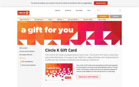Screenshot of FAQ Page circlek.uk - Gift Card - Circle K - captured Nov. 3, 2018