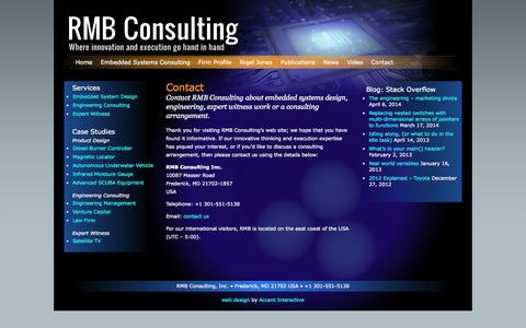 Screenshot of Contact Page rmbconsulting.us - RMB Consulting: Embedded Systems Design and Consulting   » Contact - captured Sept. 30, 2014