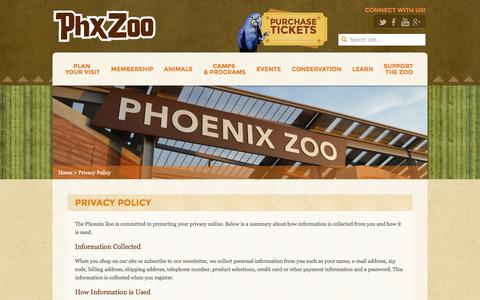 Screenshot of Privacy Page phoenixzoo.org - Privacy Policy - Phoenix Zoo - captured Sept. 18, 2014
