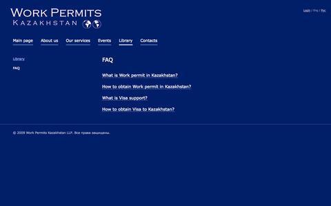 Screenshot of FAQ Page wpk.kz - FAQ - Work Permits Kazakhstan - captured Oct. 26, 2014