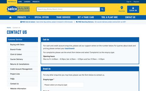 Screenshot of Contact Page selcobw.com - Contact Us | Selco Builders Warehouse - captured Oct. 1, 2018