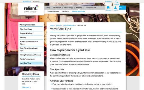 Yard Sale Tips | Reliant Energy