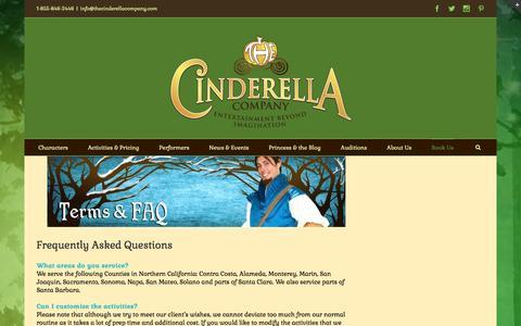 Screenshot of FAQ Page thecinderellacompany.com - FAQ | The Cinderella Company - captured Jan. 11, 2016