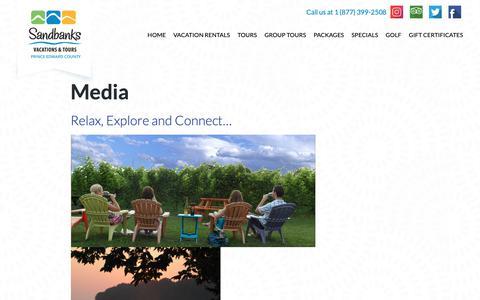 Screenshot of Press Page sandbanksvacations.com - Media - Sandbanks Vacations & Tours - captured Nov. 12, 2018