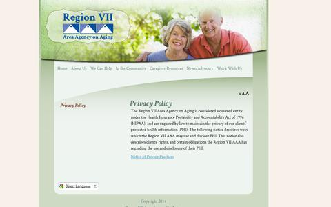 Screenshot of Privacy Page region7aaa.org - Privacy Policy | Region 7 Area Agency on Aging - captured Oct. 26, 2014