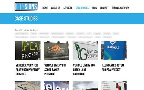 Screenshot of Case Studies Page citysigns.co.uk - Case Studies | City Signs | Bespoke Signage, Digital Printing and Vinyl Graphics - captured July 18, 2018