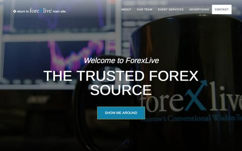 Screenshot of About Page Contact Page forexlive.com - About Us Discover ForexliveForexlive - captured Jan. 13, 2016