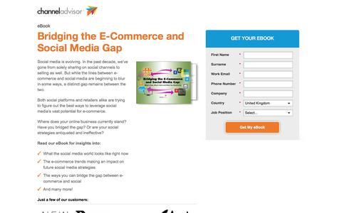 Screenshot of Landing Page channeladvisor.com - Bridging the E-Commerce and Social Media Gap - captured Feb. 25, 2017