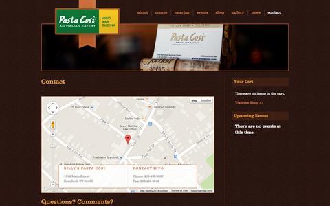 Screenshot of Contact Page pastacosi.com - Billy's Pasta Cosi | Contact - captured Sept. 30, 2014