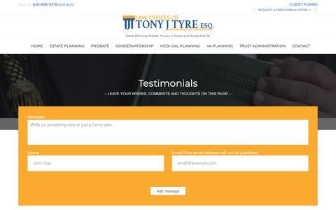 Screenshot of Testimonials Page tyrelawgroup.com - Testimonials | Tony J. Tyre, Attorney at Law - captured Oct. 19, 2018