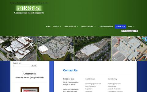 Screenshot of Contact Page cirscocontracting.com - Cirsco Inc. - Contact Us - captured Oct. 1, 2014