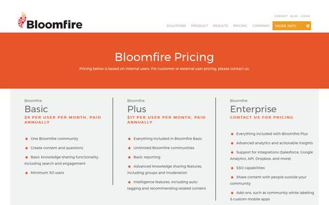 Screenshot of Pricing Page bloomfire.com - Bloomfire Pricing - Bloomfire - captured May 9, 2017