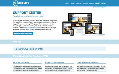 Screenshot of Support Page mhthemes.com - Support Center | MH Themes - captured Sept. 18, 2014