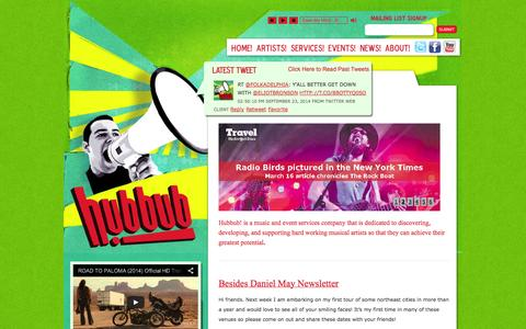 Screenshot of Home Page hubbubmusic.net - Hubbub! Music – Artist Development | Music and Event Consulting – Home - Hubbub! Music - captured Sept. 30, 2014