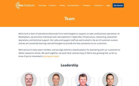 Screenshot of Team Page macstadium.com - MacStadium Team | Mac Hosting and Cloud Solutions - captured Nov. 5, 2018