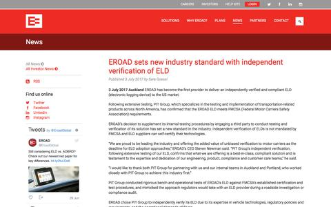 Screenshot of Press Page eroad.co.nz - Latest RUC, health and safety and fleet tracking news | EROAD - captured July 11, 2017