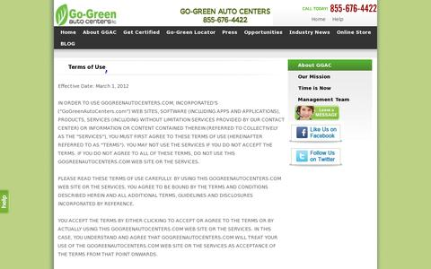 Screenshot of Terms Page gogreenautocenters.com - GGAC : Terms of Use - captured July 19, 2014