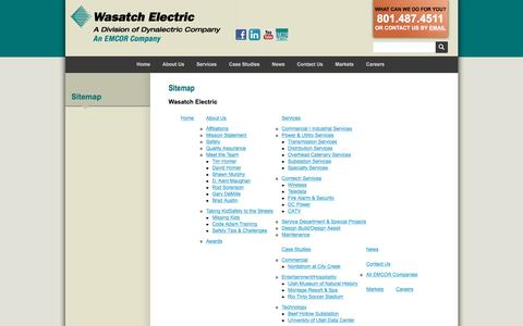 Screenshot of Site Map Page wasatchelectric.com - Wasatch Electric | Sitemap - captured Dec. 17, 2016