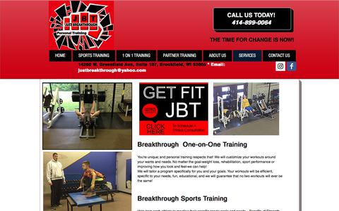 Screenshot of Services Page justbreakthrough.com - Services and Classes | Just Breakthrough Personal Fitness | Brookfield - captured Oct. 16, 2017