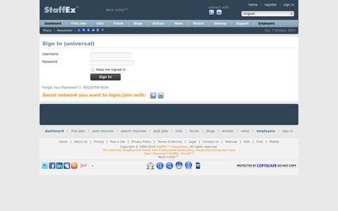 Screenshot of Login Page staffex.co - Find Jobs Online - StaffEx™ Employment Portal & Social Network: User login form - captured Oct. 7, 2014