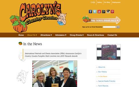 Screenshot of Press Page carolynscountrycousins.com - In the News - Award Winning Kansas City Pumpkin Patch - captured Oct. 28, 2014