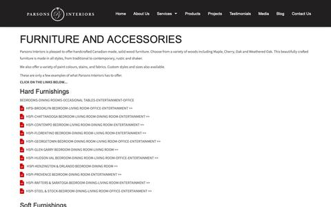 Screenshot of Products Page parsonsinteriors.com - Home Interiors Furniture in Oakville ON, Mississauga, Burlington, GTA - captured Oct. 13, 2018