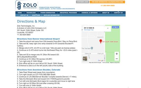 Screenshot of Maps & Directions Page zolotech.com - Zolo Technologies   » Directions - captured Oct. 18, 2018