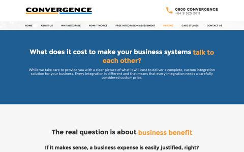 Screenshot of Pricing Page convergence.co.nz - Integration Costs - Convergence Website Integration - captured Oct. 28, 2014