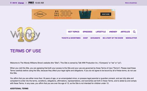 Screenshot of Terms Page wendyshow.com - Terms of Use - The Wendy Williams Show - captured Oct. 18, 2018
