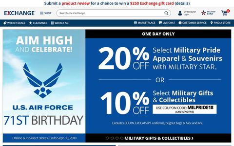 Screenshot of Home Page shopmyexchange.com - Military Discounts On Top Brands, Women's Clothing, Fitness, Electronics | Shop Army & Air Force Exchange Service - captured Sept. 19, 2018