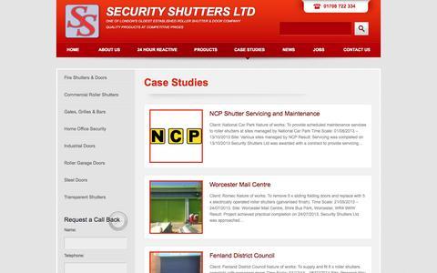 Screenshot of Case Studies Page securityshuttersltd.co.uk - Case Studies «  Security Shutters Ltd - captured Sept. 30, 2014