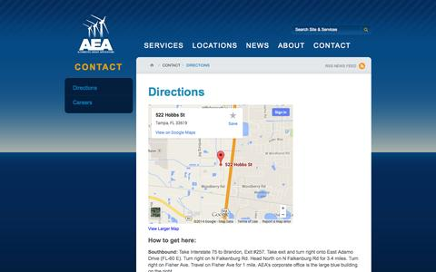 Screenshot of Maps & Directions Page aeafl.com - Directions | Alternative Energy Applications - captured Oct. 4, 2014